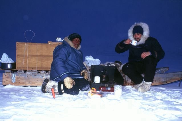 Teatime with Kiguktak near Arctic Bay.