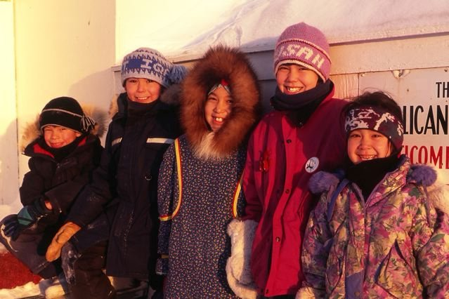 Schoolchildren at the end of the day in Iqaluit.